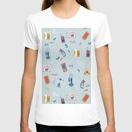 Phones in Retro Blue T-shirt