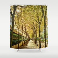 vancouver Shower Curtains featuring Vancouver autumn by amberino