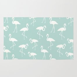 Flamingo Silhouettes, Pattern Of Flamingos - Blue Rug