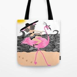 Flamingo Ride Tote Bag