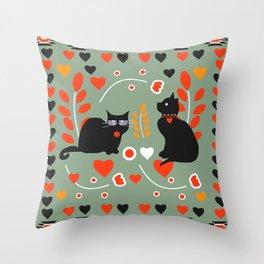 Romantic cats Throw Pillow