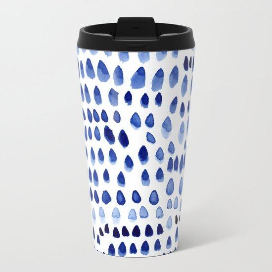 painted dots blue Metal Travel Mug