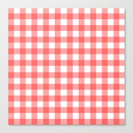 Red gingham fabric cloth, seamless pattern Canvas Print