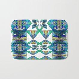 Diamond Geometric Intricate Beauty Green & Blue Bath Mat