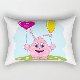Cute pink monster loves you Rectangular Pillow