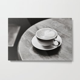 white coffee heart Metal Print