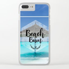 Tropical Scene with Thatched Palapa Beach Bum Typography Clear iPhone Case