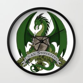Clan Stonefire Green Dragon Crest Wall Clock