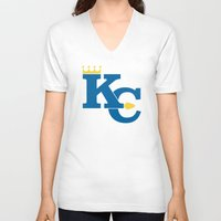 kansas city V-neck T-shirts featuring Kansas City Sports Blue by Haley Jo Phoenix