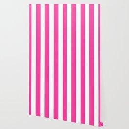 Rose bonbon pink - solid color - white vertical lines pattern Wallpaper