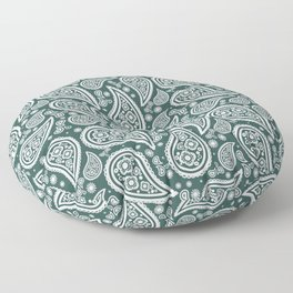 Paisley (White & Dark Green Pattern) Floor Pillow