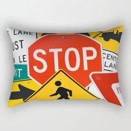 Road Traffic Sign Collage Rectangular Pillow