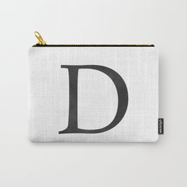 Letter D Initial Monogram Black and White Carry-All Pouch