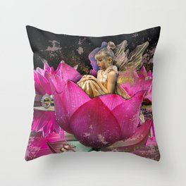 Fairy in a lotus Throw Pillow