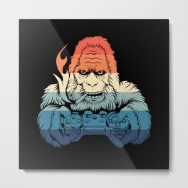 Monkey Gamer Monster Scared Metal Print