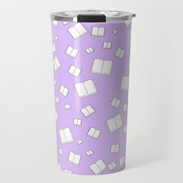 Lilac Flying Books Pattern Travel Mug