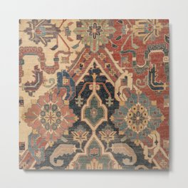 Geometric Leaves I // 18th Century Distressed Red Blue Green Colorful Ornate Accent Rug Pattern Metal Print