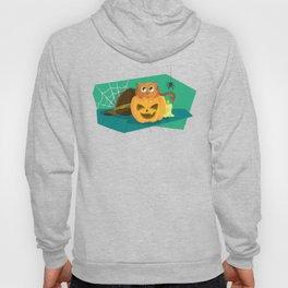 Cat in Fear on Pumpkin Halloween Design Hoody
