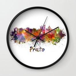 Prato skyline in watercolor Wall Clock