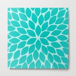 Turquoise Chrysanthemum Metal Print