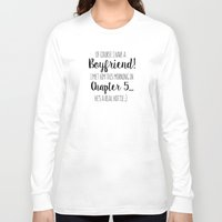 boyfriend Long Sleeve T-shirts featuring Book boyfriend by Mai~  A Curious Boutique