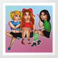 powerpuff girls Art Prints featuring Powerpuff Girls  by Astha Karki