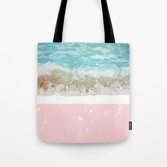 Blue Wave On Pink Tote Bag