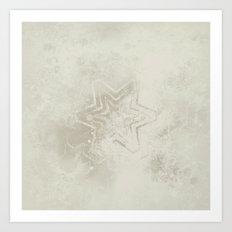 Delicate ivory star mandala Art Print