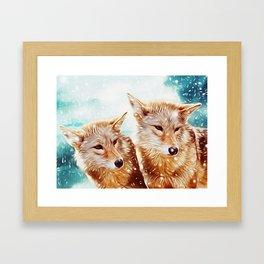Lovely Wolf Couple Under the Snow Framed Art Print