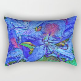 Rhododendron Aqua Rectangular Pillow