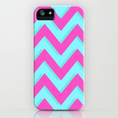 3D CHEVRON TEAL & PINK iPhone (5, 5s) Slim Case