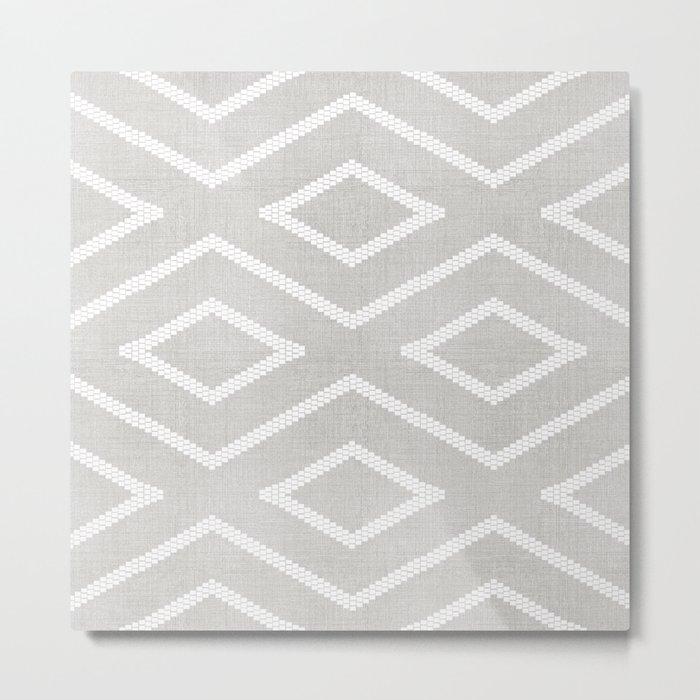 Stitch Diamond Tribal Print in Grey Metal Print