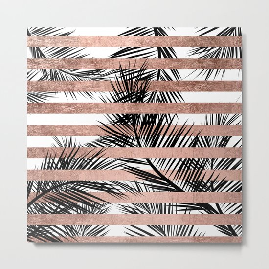 Trendy tropical palm trees chic rose gold stripes Metal Print