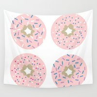 donuts Wall Tapestries featuring DONUTS by Carrianne Bullard