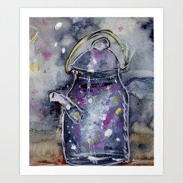 Hand Painted Galaxy Tea Kettle Art Print