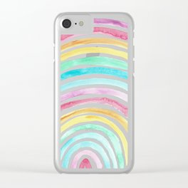 Pastel Watercolour Rainbow art Clear iPhone Case