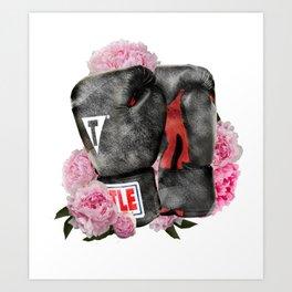 Peonies Boxing Glove Design Art Print