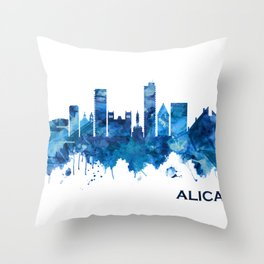 Alicante Spain Skyline Blue Throw Pillow
