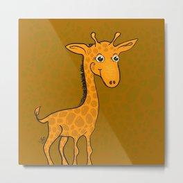 Giraffe - Sepia Brown Metal Print