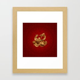 Phoenix and Dragon - on red Framed Art Print