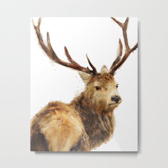Winter Red Deer Metal Print