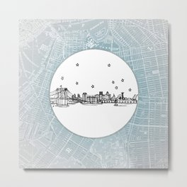 Brooklyn, New York City Skyline Illustration Drawing Metal Print