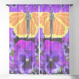 GOLDEN MONARCHS & PURPLE PANSIES  BLACK ART Sheer Curtain