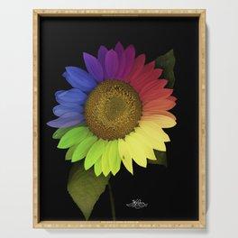 Rainbow Sunflower Scanography Serving Tray