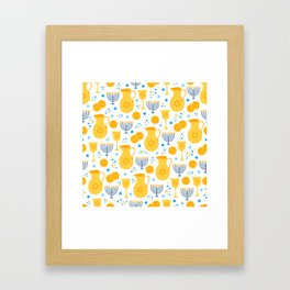 Hanukkah Traditions Pattern Framed Art Print