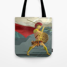 epic spartan soldier in the rain Tote Bag