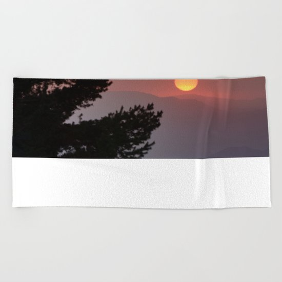 """""""Sun through the clouds and trees"""" Sunset at the mountains Beach Towel"""