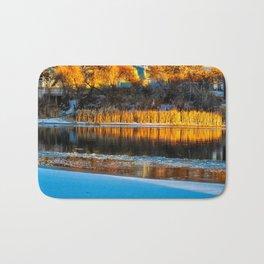 Winter Evening River Bath Mat