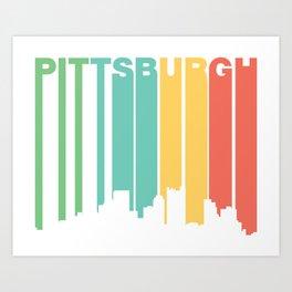 Retro 1970's Style Pittsburgh Pennsylvania Skyline Art Print