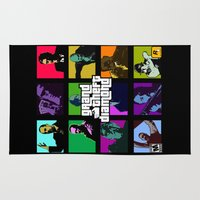 grand theft auto Area & Throw Rugs featuring Grand Theft Diamond Snatchers by Ant Atomic